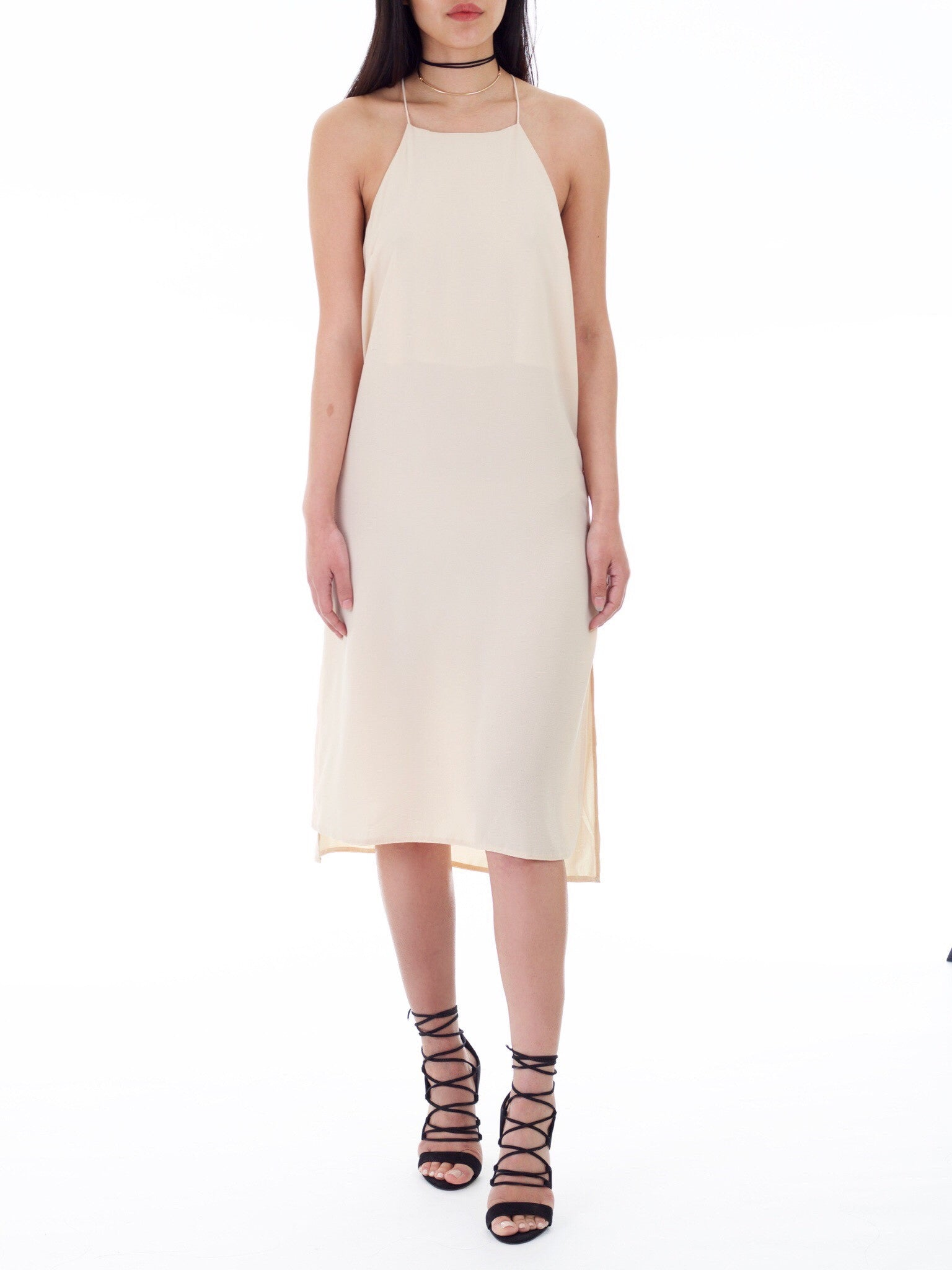 Ivory Side Slit Slip Dress - PRADEGAL