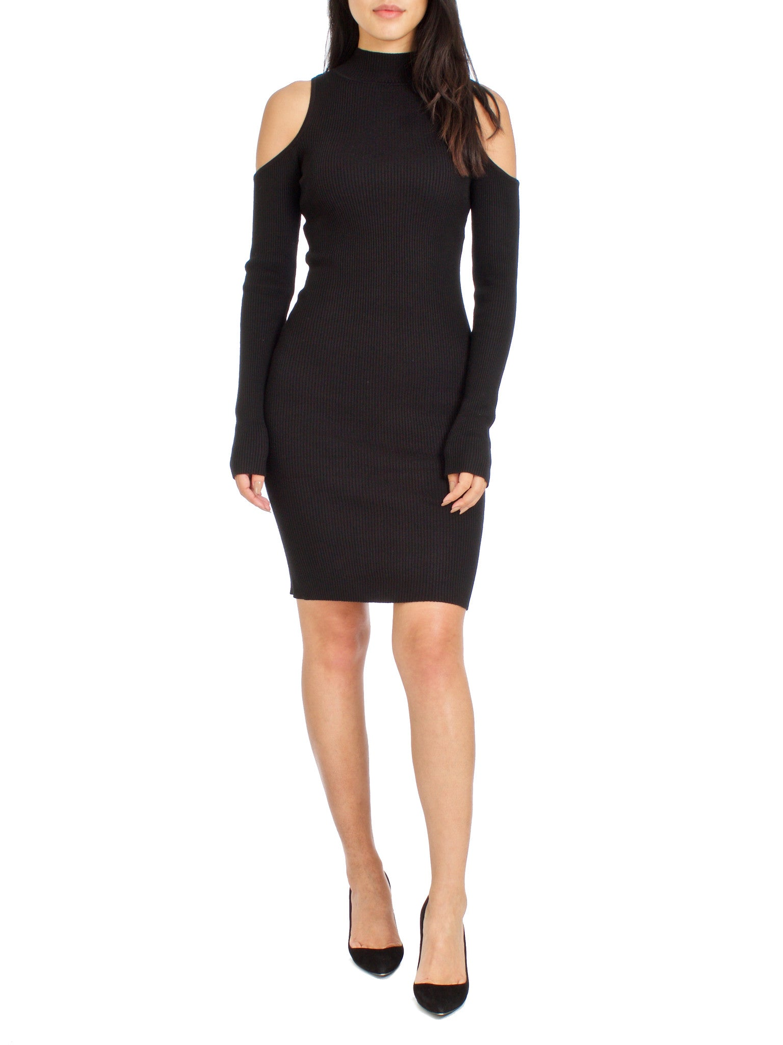Bare Your Shoulders Ribbed Knit Dress - PRADEGAL