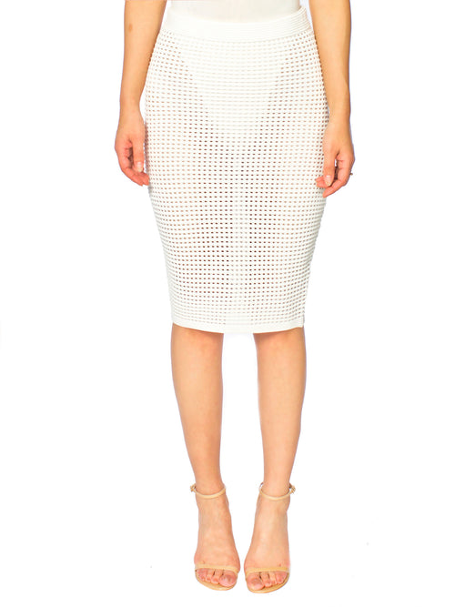 White Crochet Knit Midi Skirt - PRADEGAL