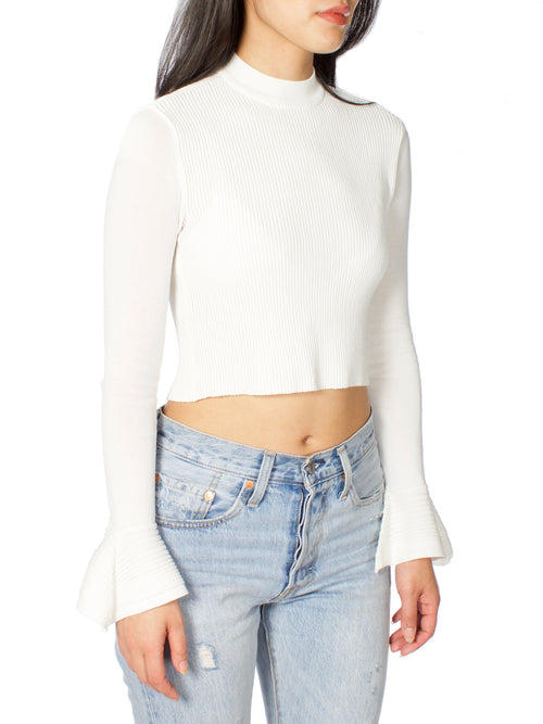 Fargo Slight Bell Sleeve Ribbed Crop Top - PRADEGAL
