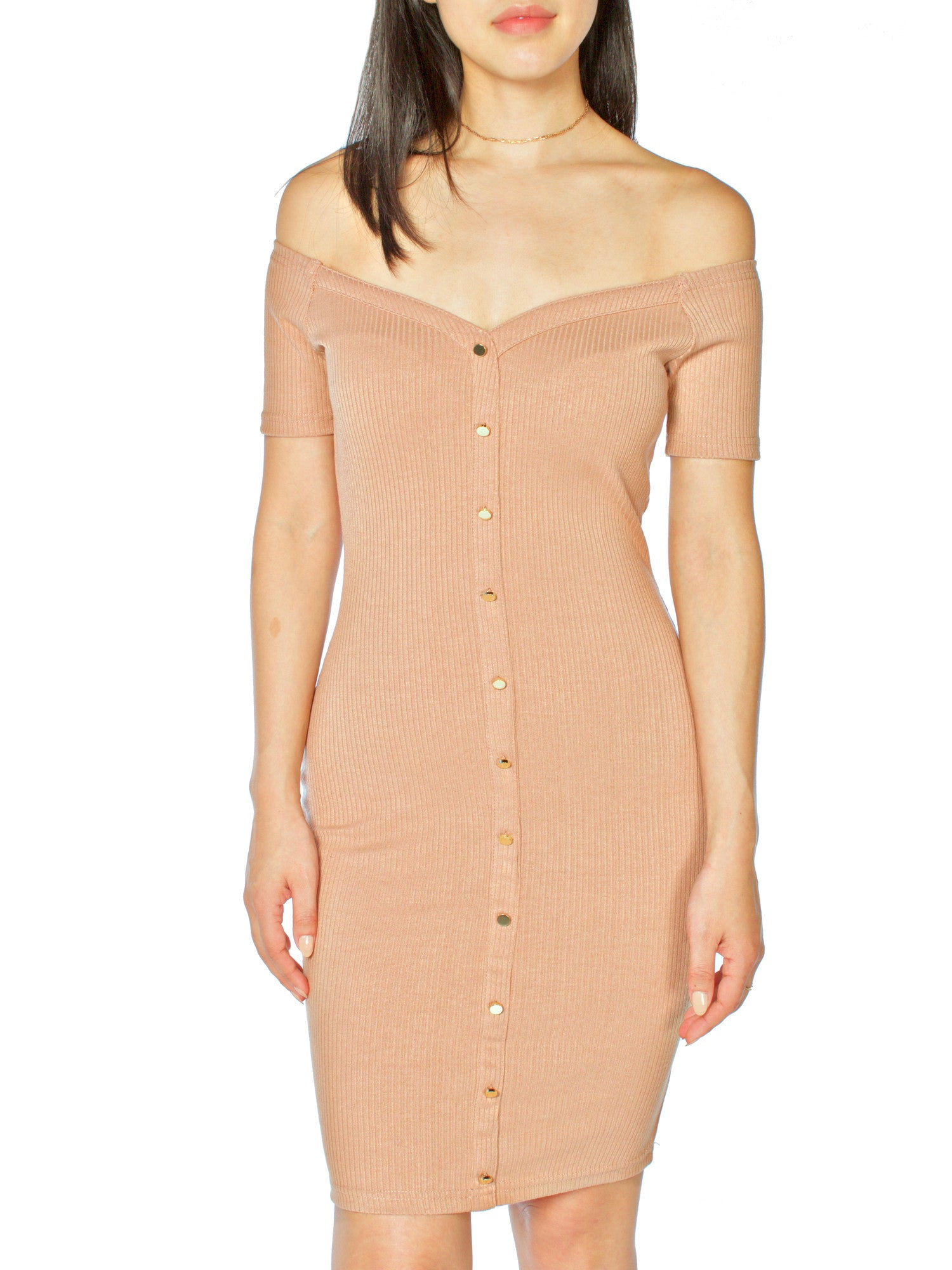 Not So Button Down Ribbed Dress - PRADEGAL