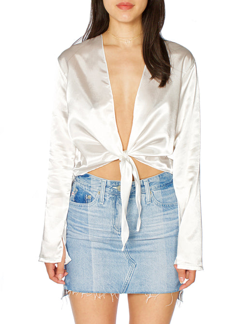 Sanna Front Tie Satin Blouse (+Colors)