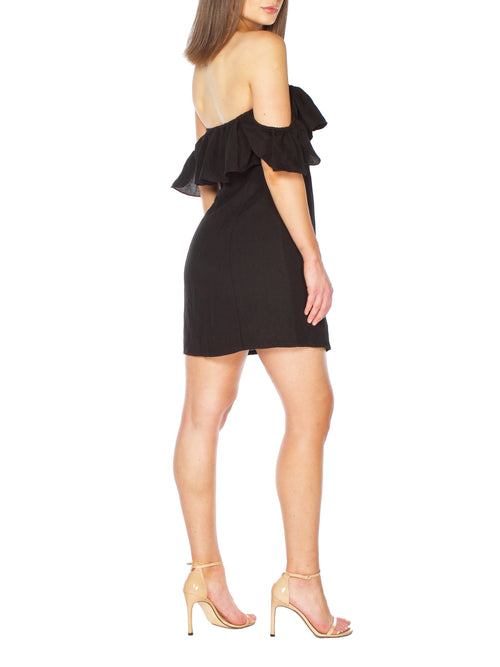 COHAN Black Ruffled Dress