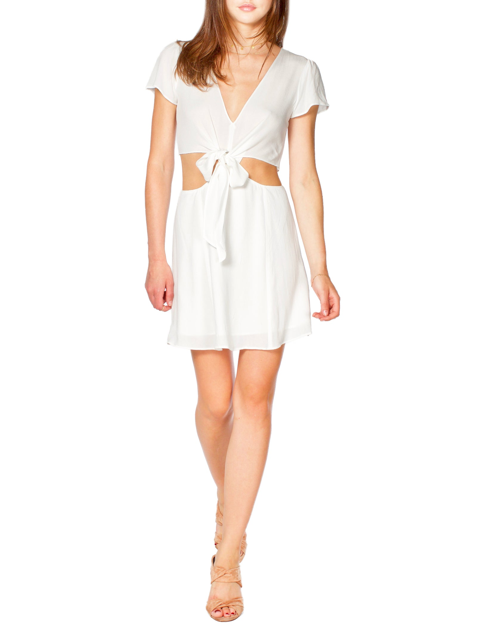 Trixy Tie Front White Dress