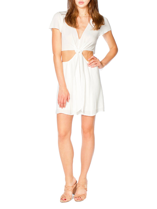 Trixy Tie Front White Dress - PRADEGAL