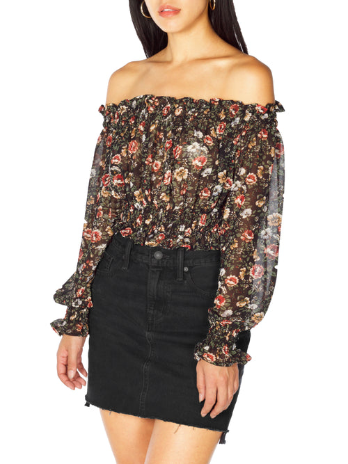 CAMMY Off The Shoulder Floral Crop Top - PRADEGAL