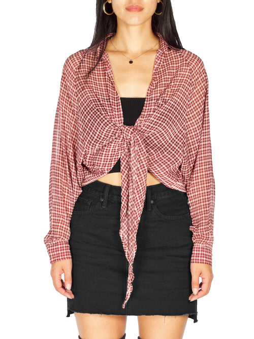 LA MAISON Plaid Tie front Top