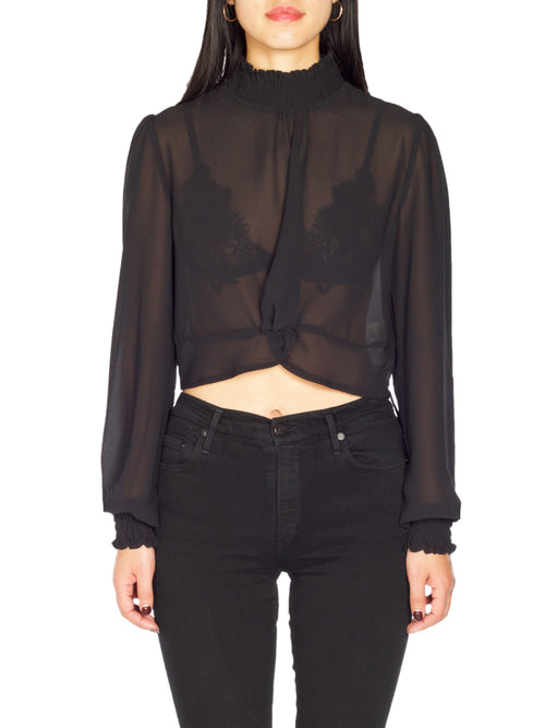HADS Sheer Rouched High Neck Twist Crop - PRADEGAL