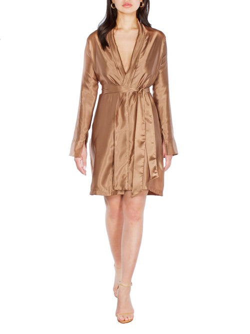 VIKKI Satin Bronze Robe Dress - PRADEGAL