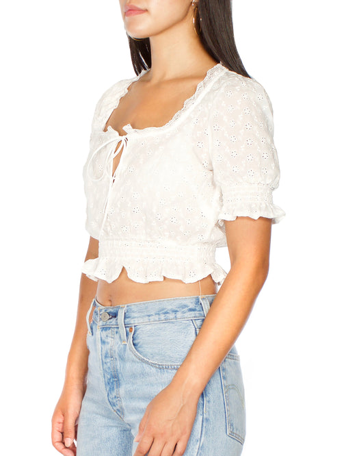 White Eyelet Blouse - PRADEGAL