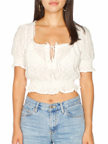 Fargo Slight Bell Sleeve Ribbed Crop Top