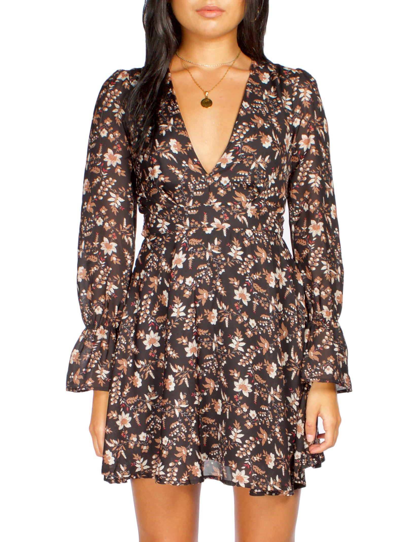 LINA Floral Plunge Dress - PRADEGAL
