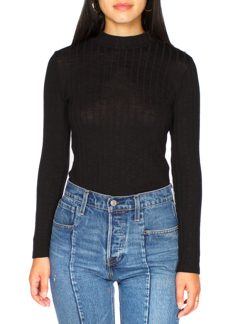 NIKI Ribbed Mock Neck Top - PRADEGAL