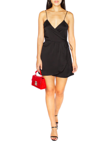 DREA Black Midi Slip Dress