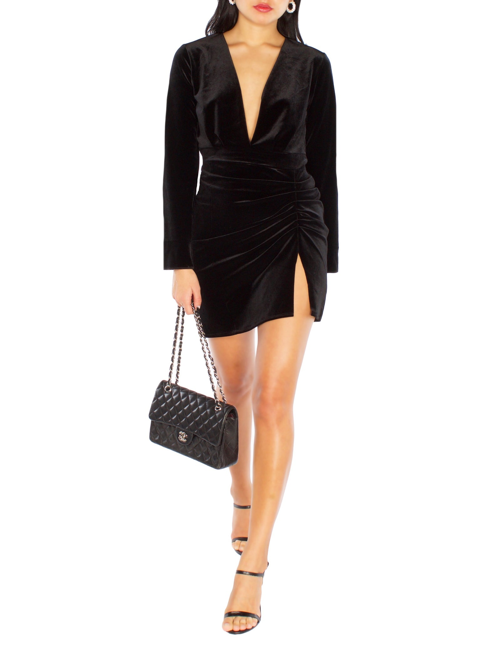 CHLOE Velvet Mini Slit Dress - PRADEGAL