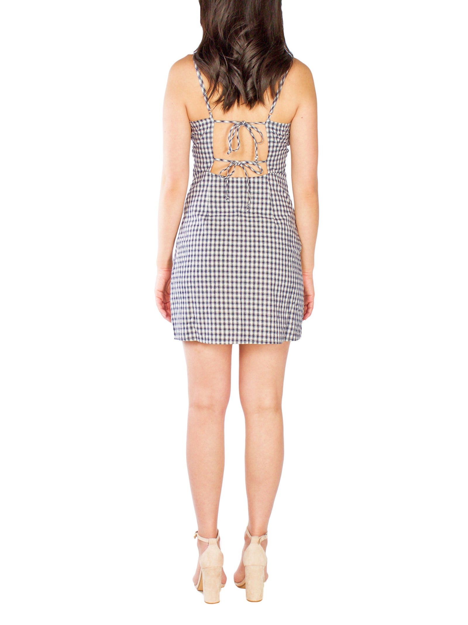 JENN Navy Checkered Mini Dress - PRADEGAL