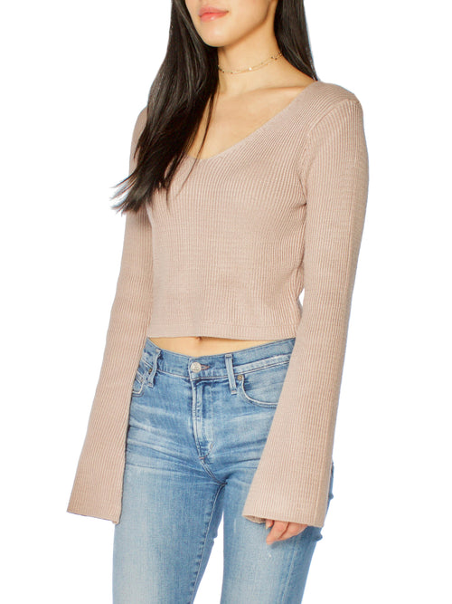 Lestie Flare Sleeve Crop Sweater - PRADEGAL