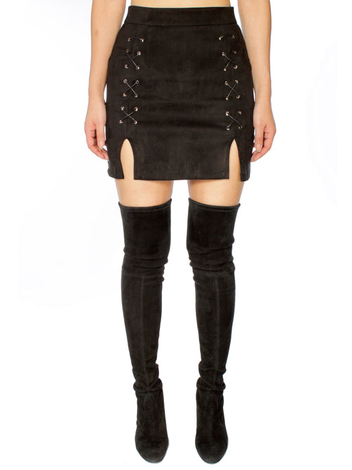 Black Lace Up Suede Skirt - PRADEGAL