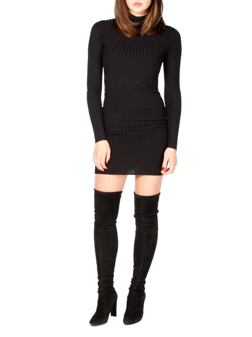 Ribbed Mock-Neck Mini Dress - PRADEGAL