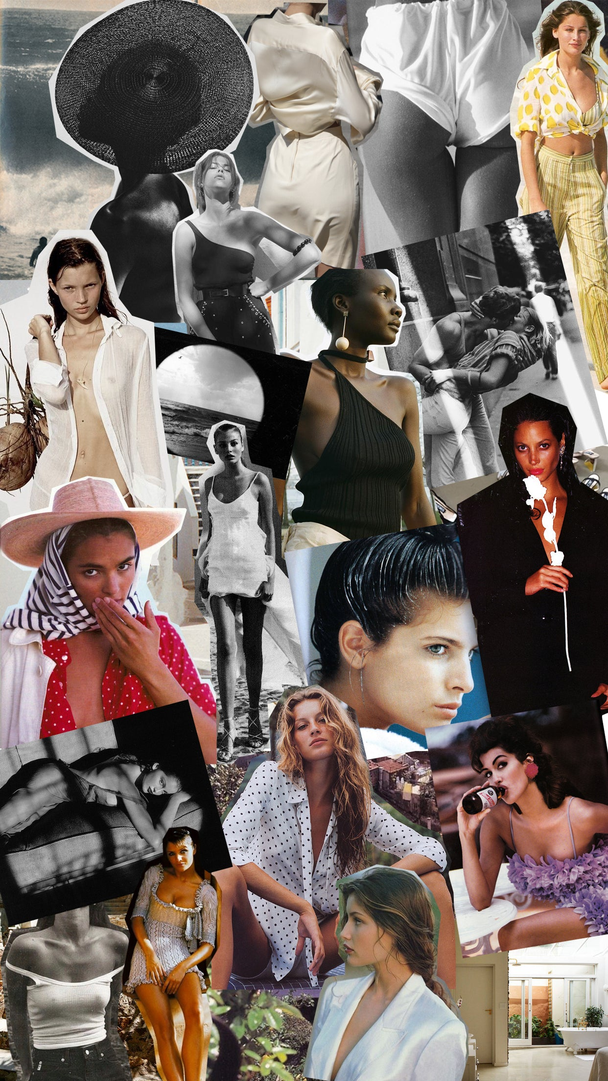 The Line by K Moodboard featuring Jaquemus, Bruce Weber, Pierrot and vintage vogue editorials