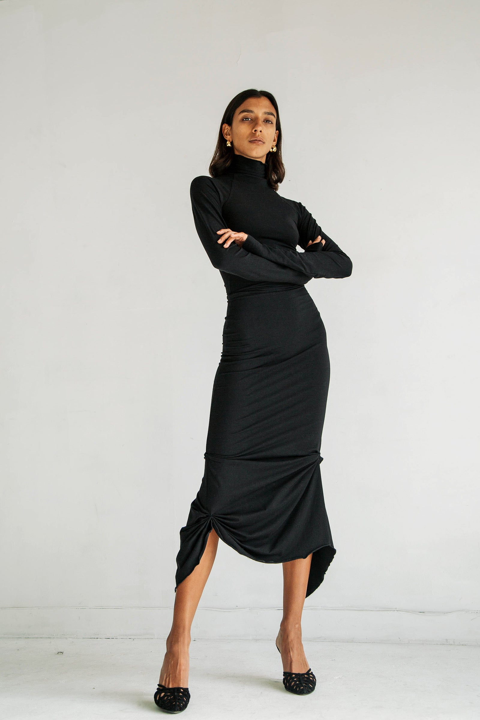 CAMILA TURTLENECK DRESS BLACK