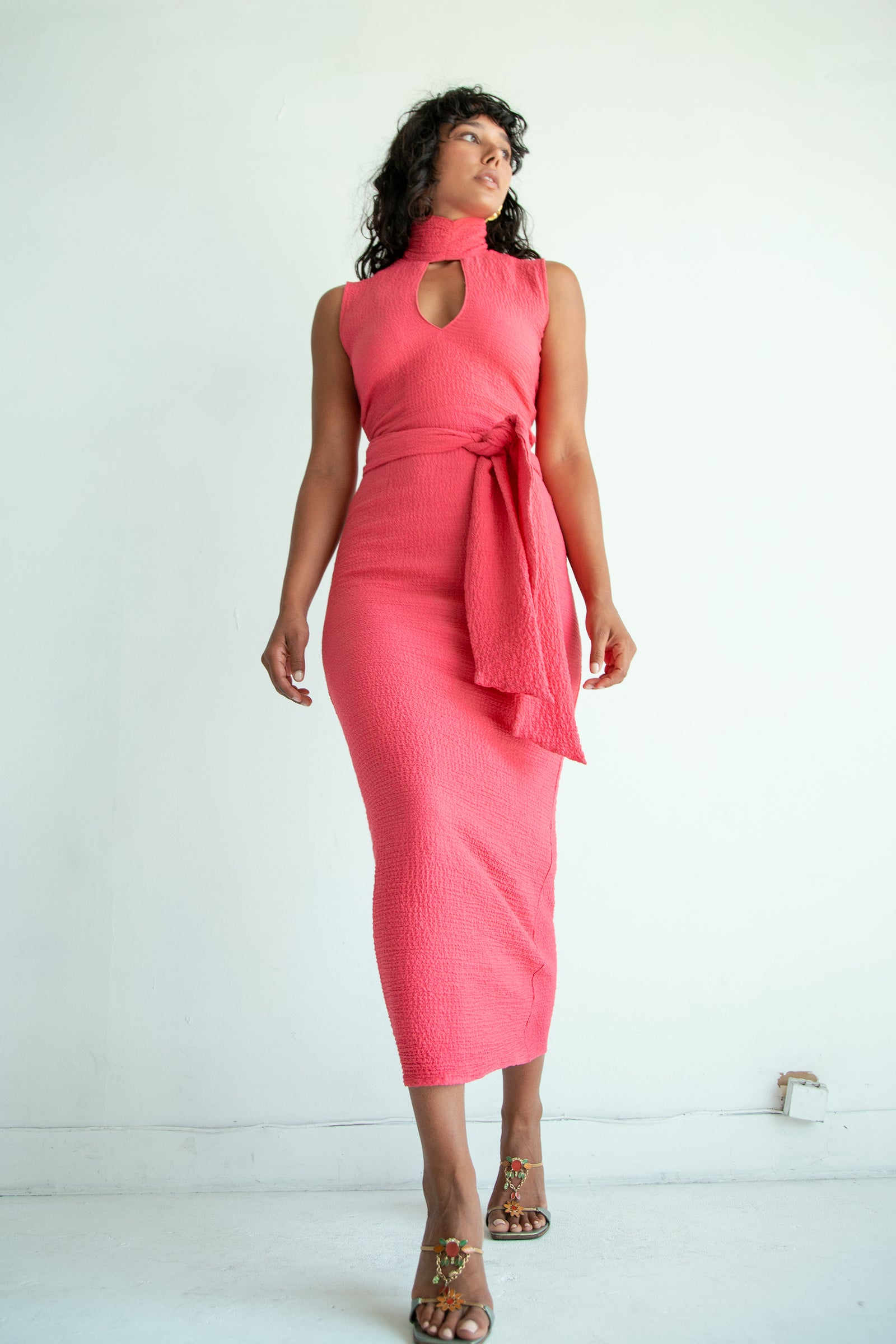 QUINCY DRESS HOT PINK