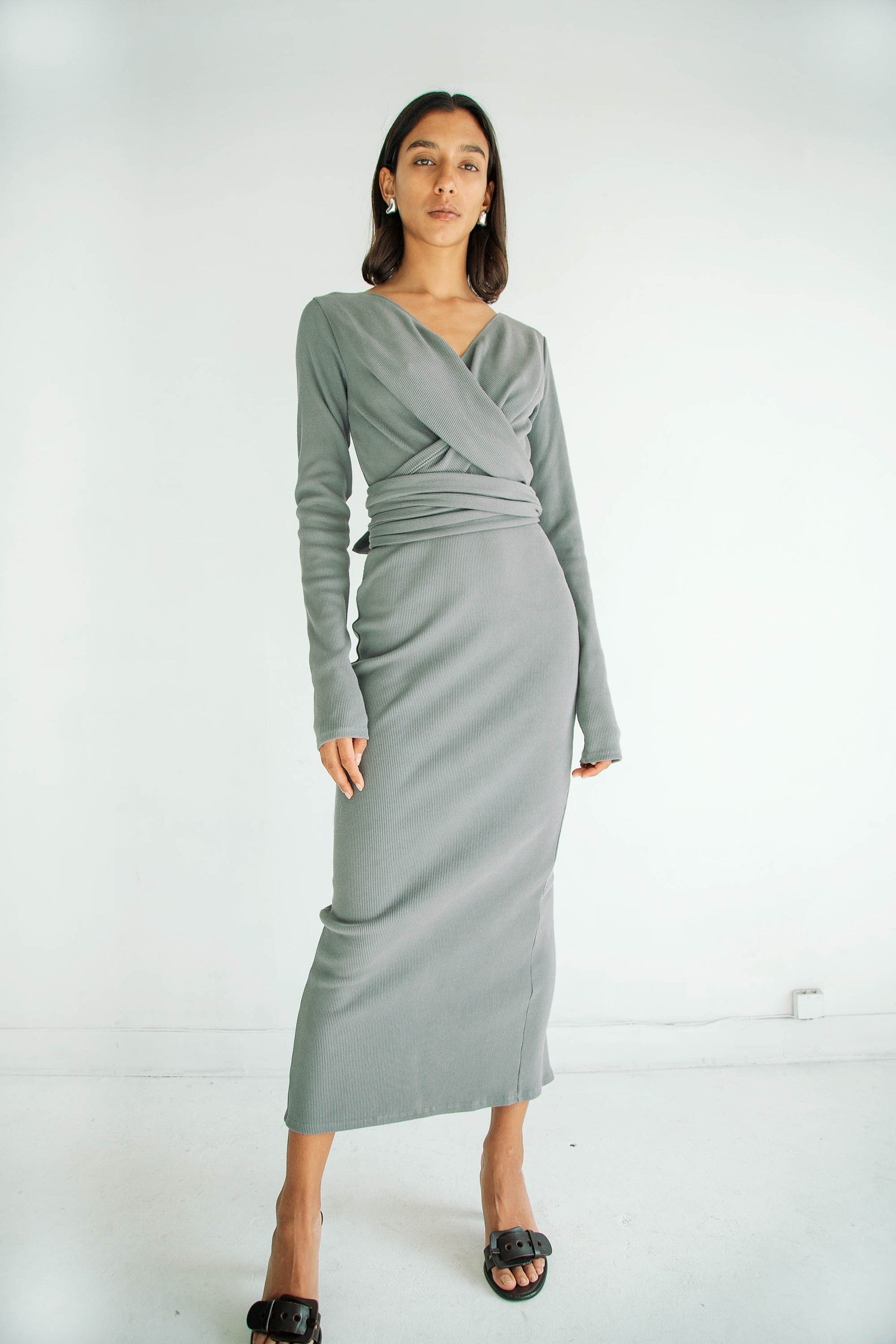 SALOMA II WRAP DRESS CHARCOAL GREY