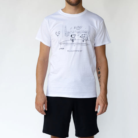 'THE NEW YORKER' Downward Dogs T-SHIRT | Cumulus White