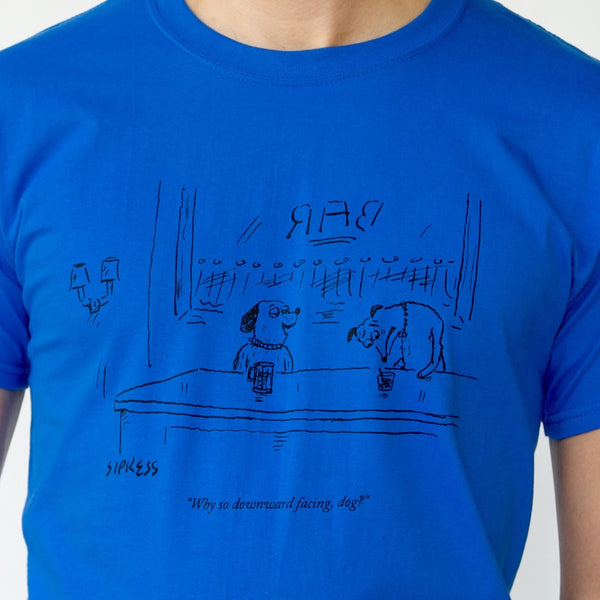 'THE NEW YORKER' Downward Dogs T-SHIRT | Astronaut Blue