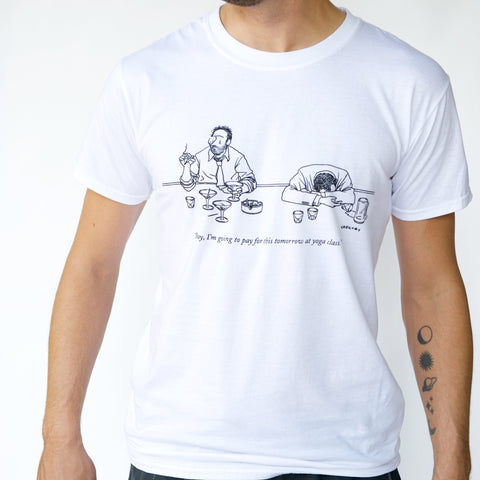 'THE NEW YORKER' Yoga Drunks T-SHIRT | Cumulus White