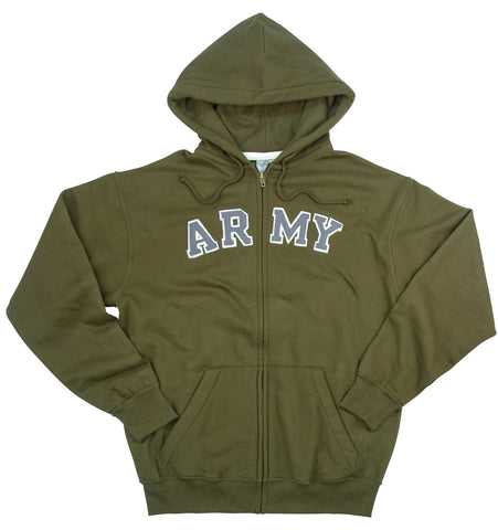 Vintage OD Army Hoodie - Fleece Lined Zip Up Military Hooded Sweatshirt / S-2XL