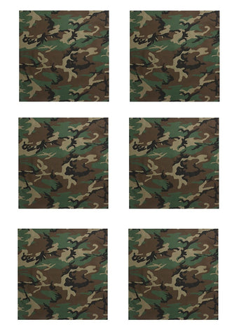 "Camo Bandana 6 PACK Woodland Camouflage 22"" Stylish Cotton Casual Headwraps"