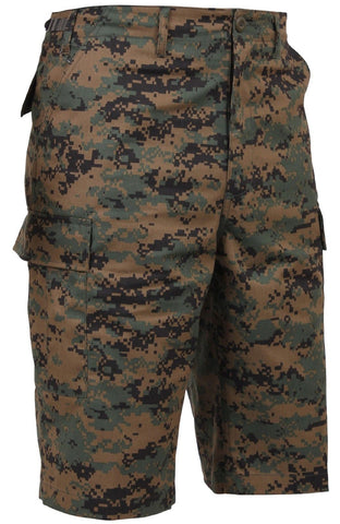 Men's Woodland Digital Camouflage Long-Length BDU Cargo Shorts - S - 3XL