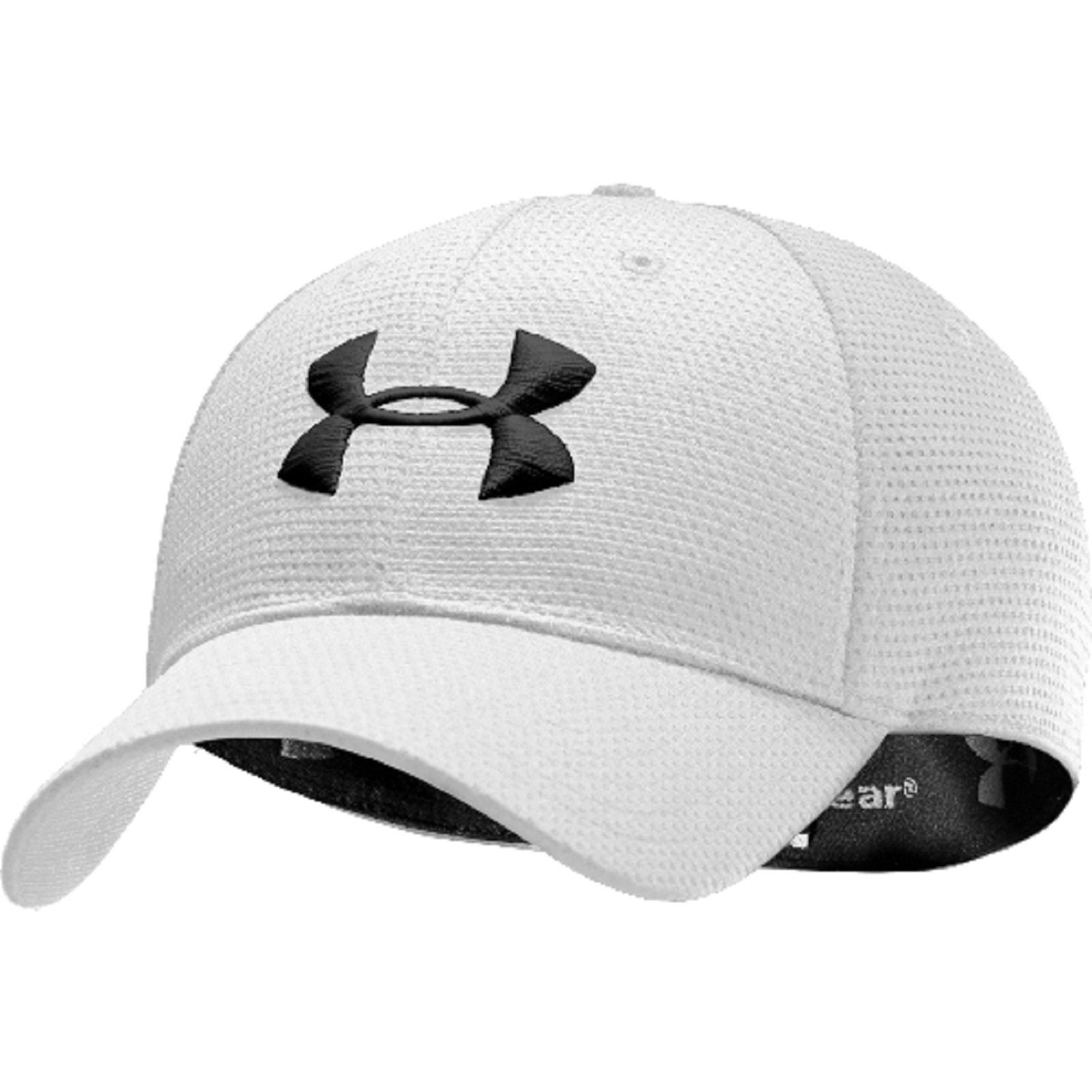 1b866c6d9c7 ... Under Armour Blitzing Stretch Fit Cap - Men s UA HeatGear PolyMesh  Baseball Hat White ...
