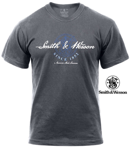 "Charcoal Gray Smith & Wesson ""American Made Firearms"" Short Sleeve Tee T-Shirt"