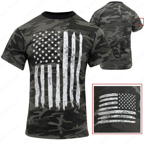 Rothco Men's Athletic Fit Black Camo T-Shirt W/ US Flag