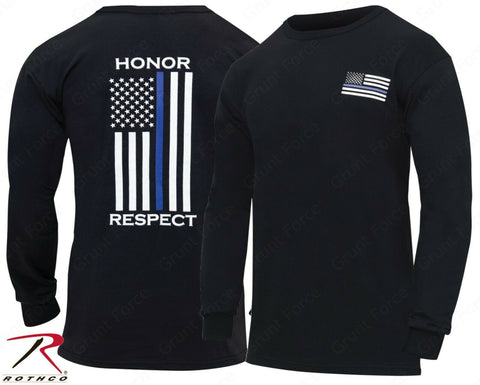 Rothco Thin Blue Line 'Honor and Respect' T-Shirt - Men's Black Long Sleeve Tee