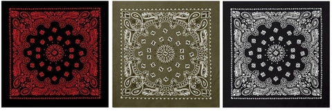 Extra Large Bandana THREE PACK - 100% Cotton Jumbo 27
