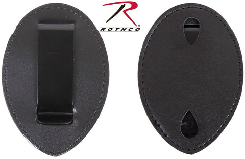 Black Leather Clip On Badge Holder - Rothco West Coast Badge Type Clip-On Holder