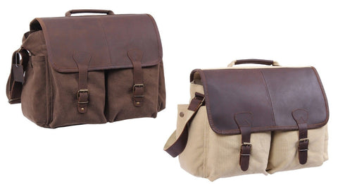 Stylish Heavyweight Canvas Messenger Shoulder Bag With Leather Front Flap