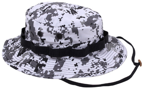 3f228a904c5f0f City Digital Camouflage Boonie Hat - Black & White Camo Bucket Hats w Chin  Strap