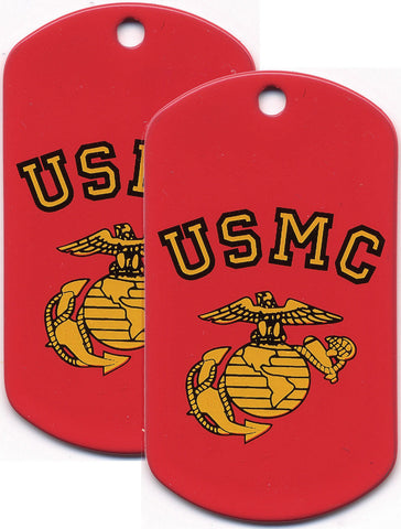 Screen Printed Dog Tags - USMC Globe & Anchor (Officially Licensed) - Set Of Two