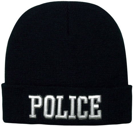 Black POLICE Watch Cap Ski Hat - Deluxe 3D Raised White Embroidered Winter Hat