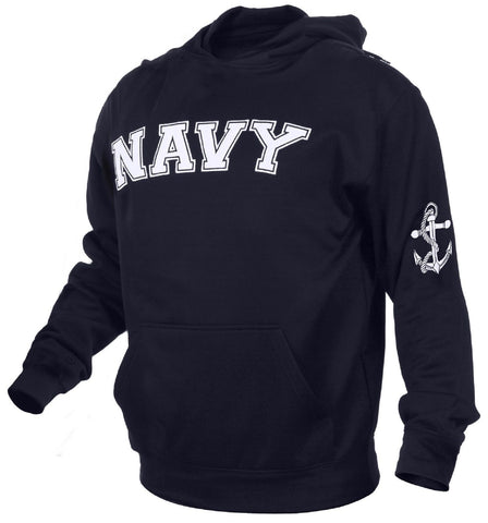 Rothco Embroidered NAVY Hooded Sweatshirt - Men's Military Pullover Hoodie S-2XL