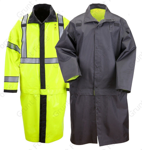 5.11 Tactical Long Reversible Waterproof Hi Vis Yellow & Black Rain Coat Jacket