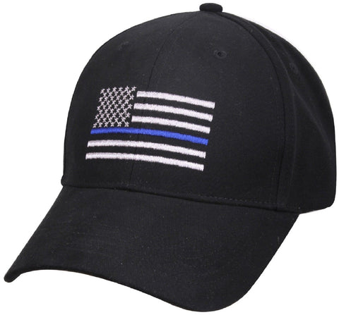 Thin Blue Line Flag Low Profile Baseball Hat - Rothco Mens Cotton USA Flag Cap