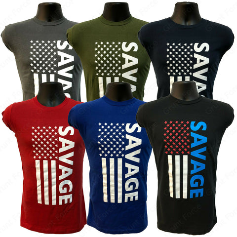"Grunt Force ""SAVAGE"" American Flag 100% Cotton T-Shirt -  7 Colors"