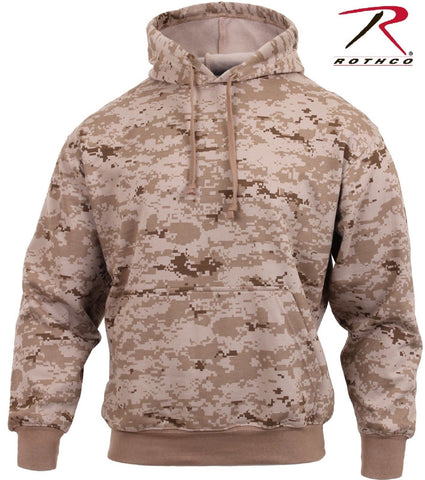 Mens Desert Digital Camo Hooded Sweatshirt - Rothco Fleece Lined Cotton Hoodie