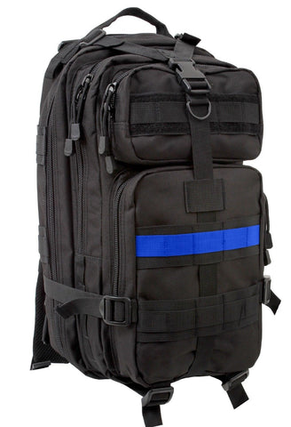 The Thin Blue Line Medium Transport Pack - Rothco Black TBL Backpack Bag