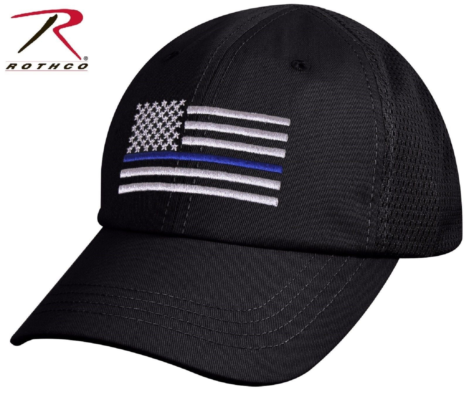 94e3bd1d63b72 Mens USA American Flag Thin Blue Line Mesh Cap - Rothco Black TBL Baseball  Hat